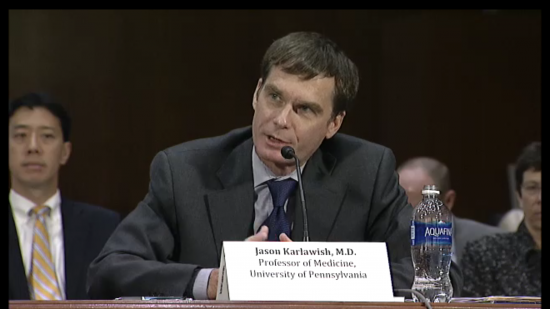 Dr. Jason Karlawish, Penn Memory Center Co-Director, testifies to the Elder Justice Coordinating Council Wednesday, April 27, 2016. (Screenshot of livestream.)